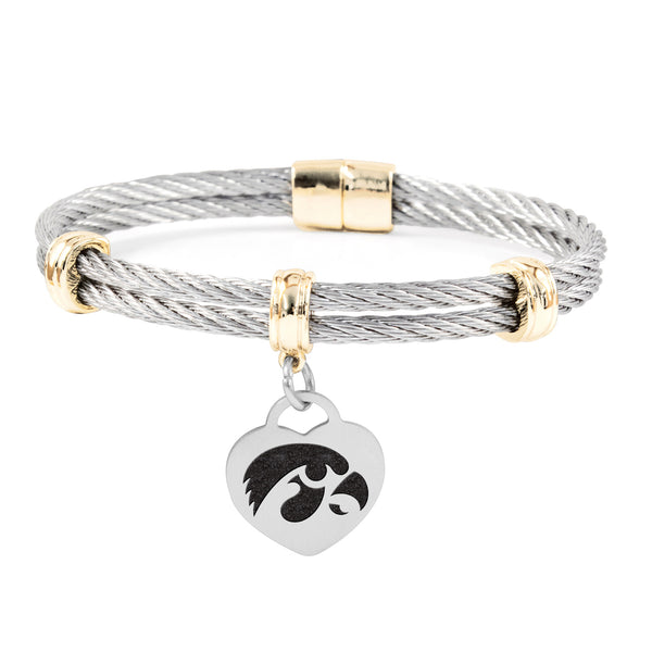 Iowa Hawkeyes Charm Bracelet Stainless Steel Magnetic Clasp Bangle