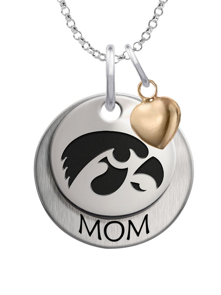Iowa Hawkeyes MOM Necklace with Heart Accent