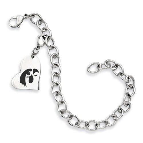 Iowa Hawkeyes Stainless Heart Bracelet