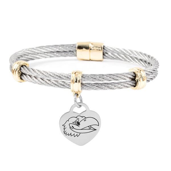Kansas Jayhawks Charm Bracelet Stainless Steel Magnetic Clasp Bangle