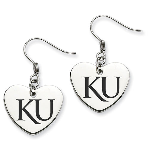 Kansas Jayhawks Stainless Steel Heart Earrings