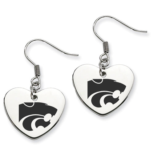 Kansas State Stainless Steel Heart Earrings