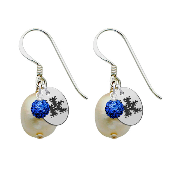 Kentucky Wildcats Color and Freshwater Pearl Earrings