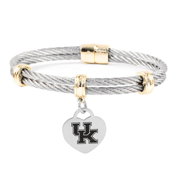 Kentucky Wildcats Charm Bracelet Stainless Steel Magnetic Clasp Bangle
