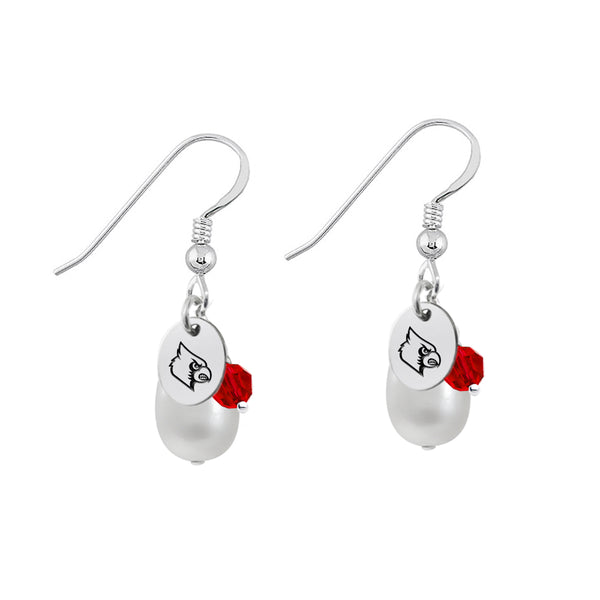 Louisville Cardinals Color and Freshwater Pearl Earrings