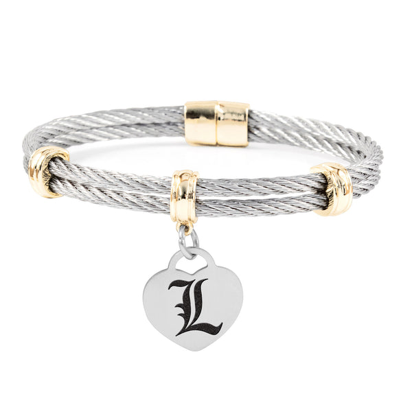 Louisville Cardinals Charm Bracelet Stainless Steel Magnetic Clasp Bangle
