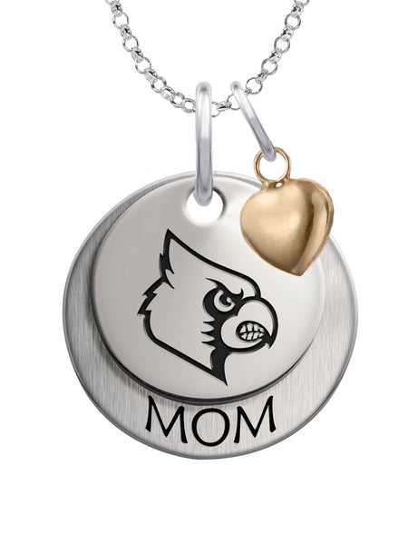 Louisville Cardinals MOM Necklace with Heart Accent