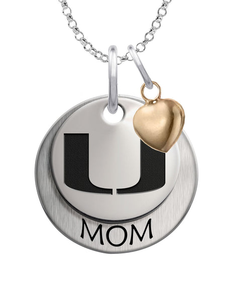 Miami Hurricanes MOM Necklace with Heart Accent - DealsAmazingDeals.com