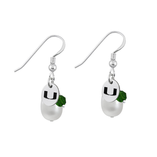 Miami FL Hurricanes Color and Freshwater Pearl Earrings