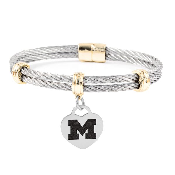 Michigan Wolverines Charm Bracelet Stainless Steel Magnetic Clasp Bangle