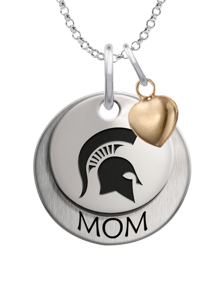 Michigan State Spartans MOM Necklace with Heart Accent