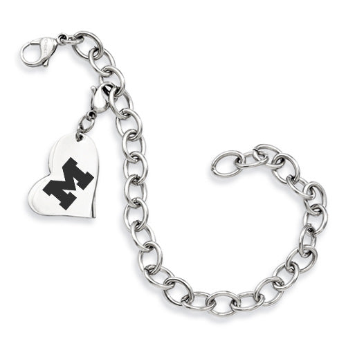 Michigan Wolverines Stainless Heart Bracelet