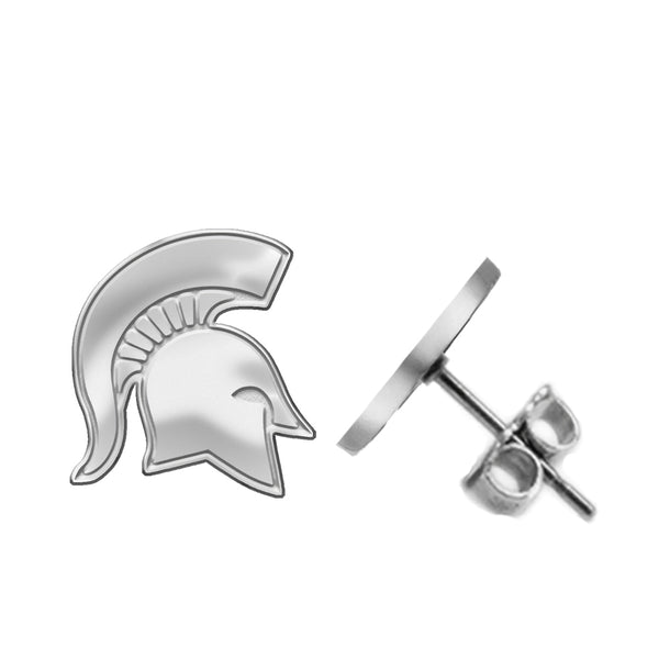 Michigan State Spartans Silver Stud Earrings - DealsAmazingDeals.com