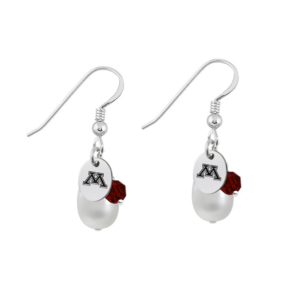 Minnesota Golden Gophers Color and Freshwater Pearl Earrings - DealsAmazingDeals.com