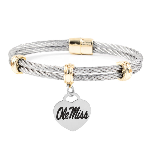 Mississippi Ole Miss Rebels Charm Bracelet Stainless Steel Magnetic Clasp Bangle
