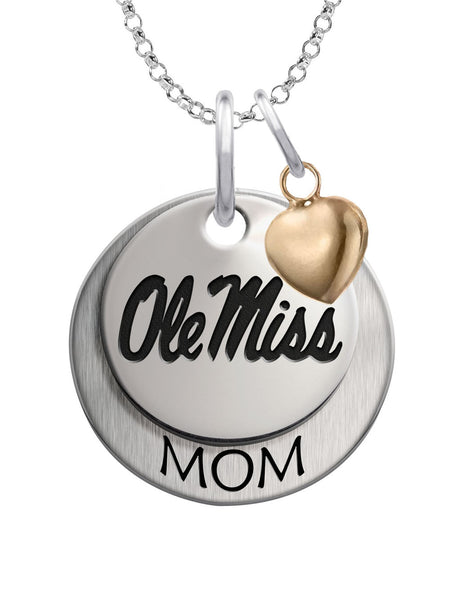 Mississippi Ole Miss Rebels MOM Necklace with Heart Accent
