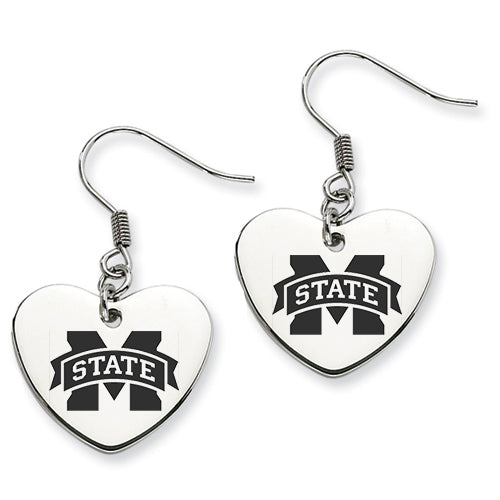 Mississippi State Stainless Steel Heart Earrings