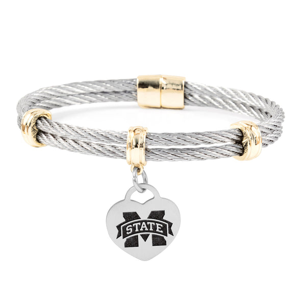 Mississippi State Bulldogs Charm Bracelet Stainless Steel Magnetic Clasp Bangle