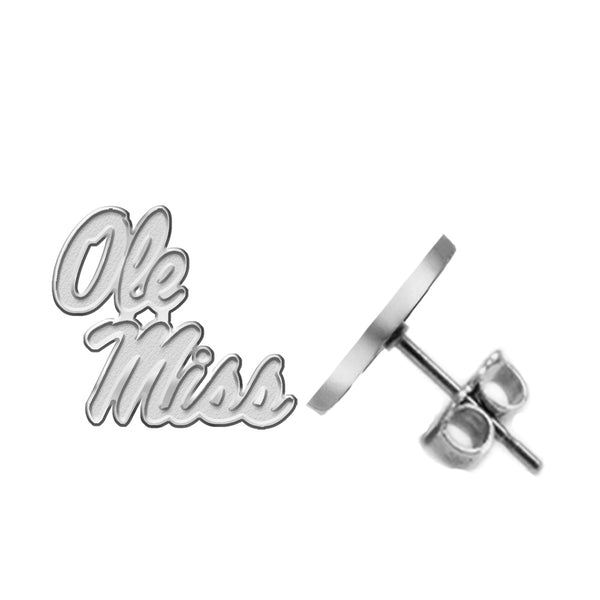 Mississippi Rebels Silver Stud Earrings