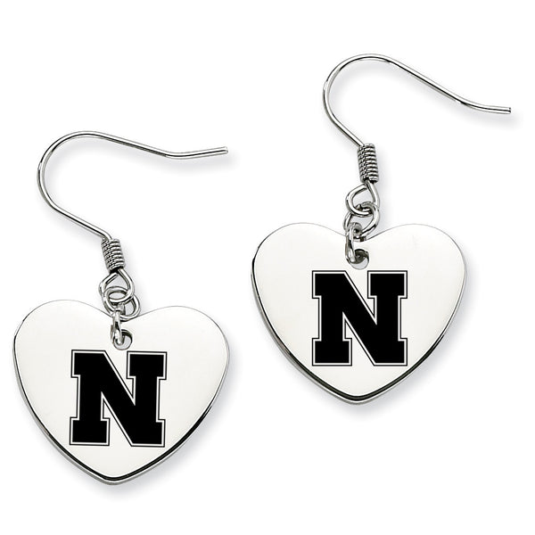 Nebraska Huskers Stainless Steel Heart Earrings