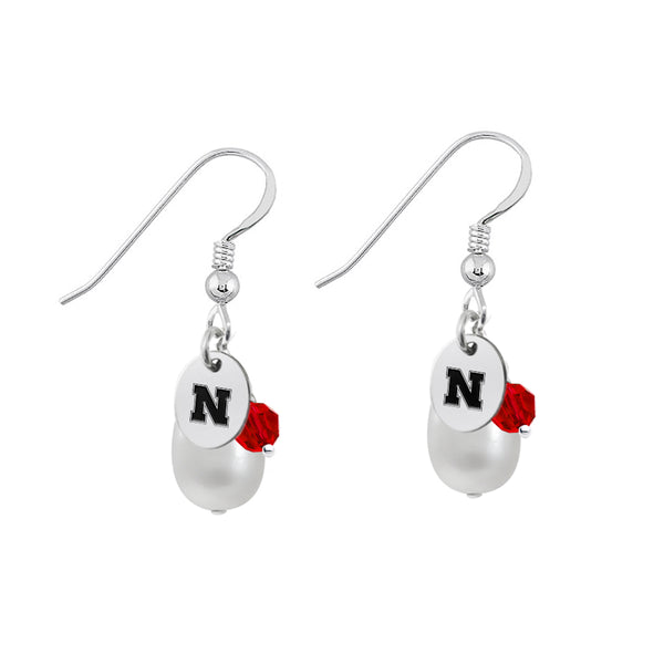 Nebraska Huskers Color and Freshwater Pearl Earrings