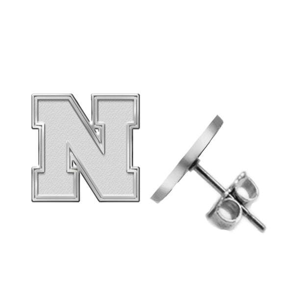 Nebraska Huskers Silver Stud Earrings