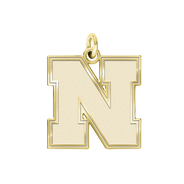 Nebraska Huskers 14K Yellow Gold Natural Finish Cut Out Logo Charm