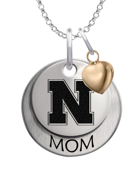 Nebraska Huskers MOM Necklace with Heart Accent