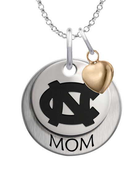 North Carolina Tar Heels  MOM Necklace with Heart Accent