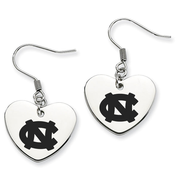 North Carolina Stainless Steel Heart Earrings