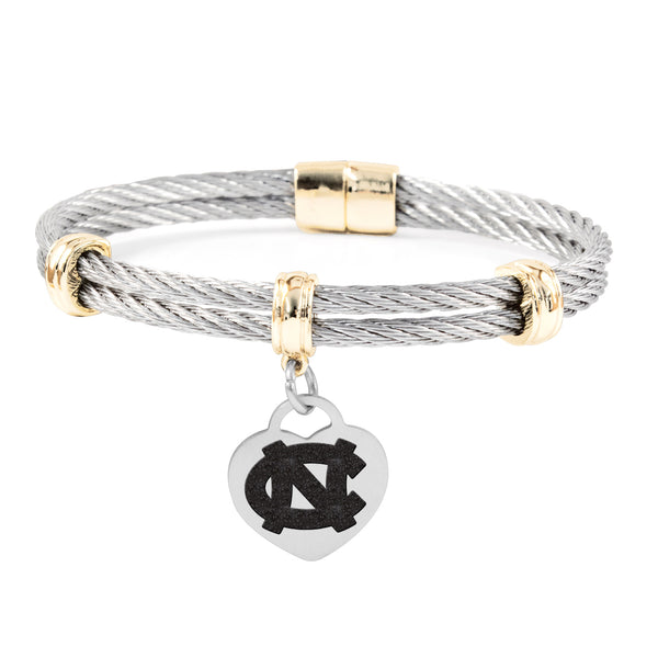 North Carolina Tar Heels Charm Bracelet Stainless Steel Magnetic Clasp Bangle