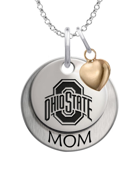 Ohio State Buckeyes MOM Necklace with Heart Accent