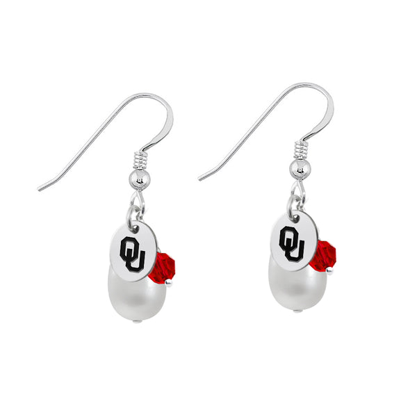 Oklahoma Sooners Color and Freshwater Pearl Earrings