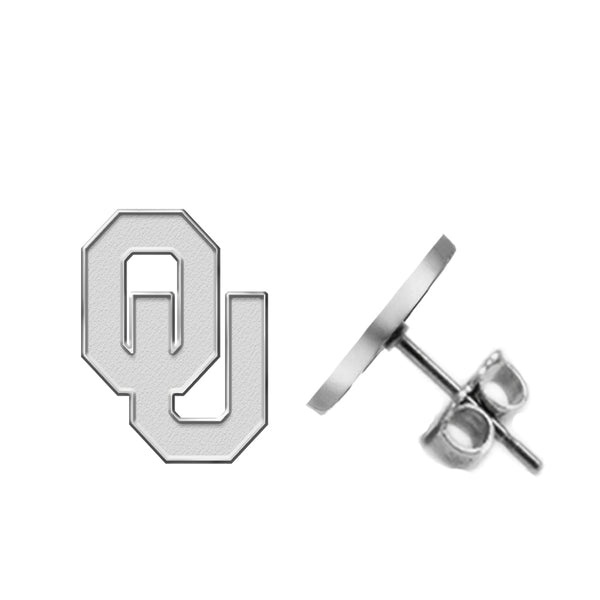 Oklahoma Sooners Silver Stud Earrings