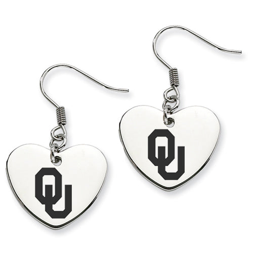 Oklahoma Sooners Stainless Steel Heart Earrings