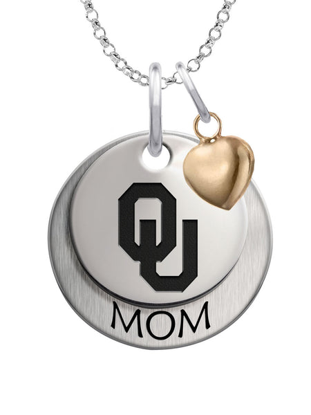 Oklahoma Sooners MOM Necklace with Heart Accent