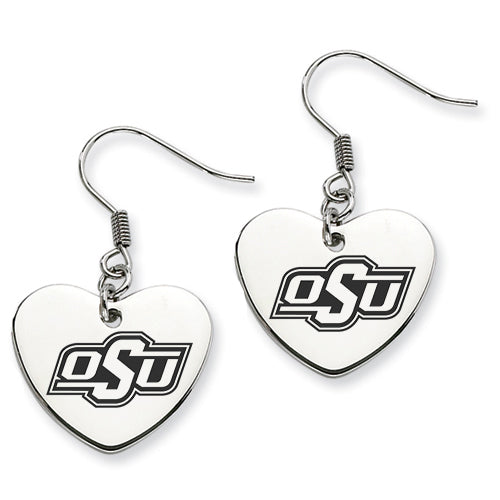 Oklahoma State Stainless Steel Heart Earrings