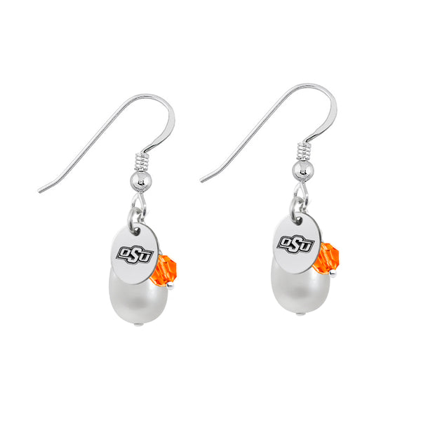 Oklahoma State Cowboys Color and Freshwater Pearl Earrings
