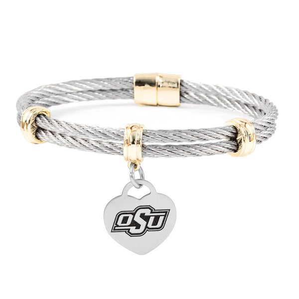 Oklahoma State Cowboys Charm Bracelet Stainless Steel Magnetic Clasp Bangle