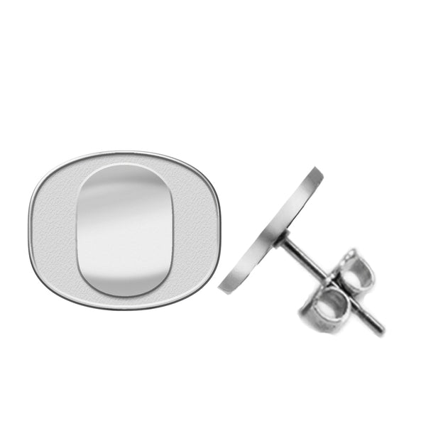Oregon Ducks Silver Stud Earrings