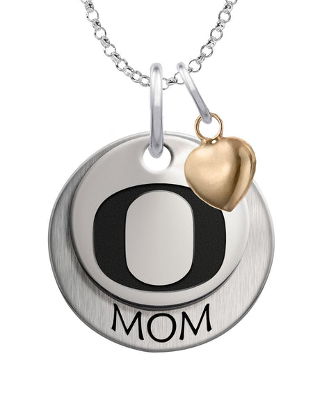 Oregon Ducks MOM Necklace with Heart Accent