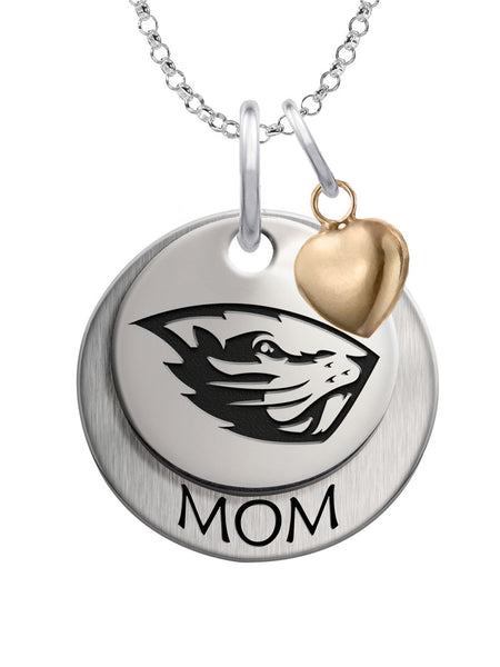 Oregon State Beavers MOM Necklace with Heart Accent