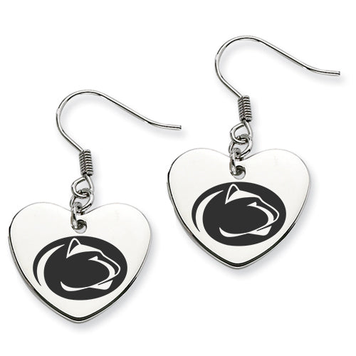 Penn State Stainless Steel Heart Earrings