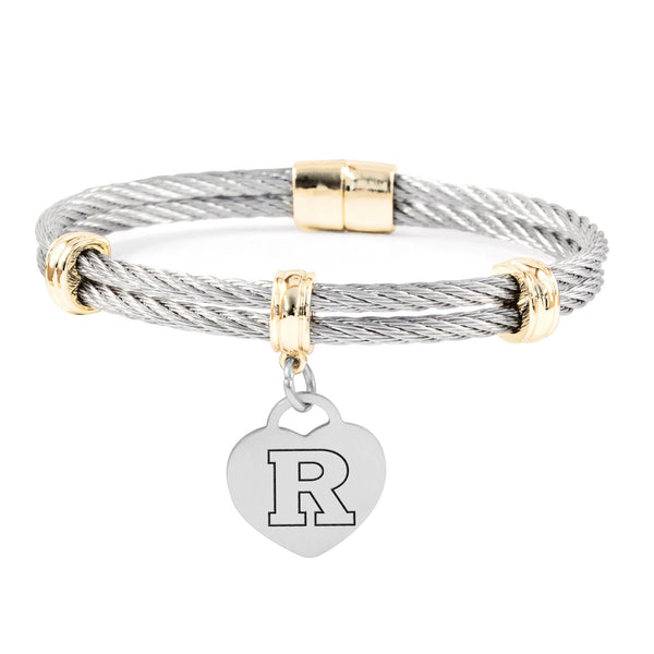 Rutgers Scarlet Knights Charm Bracelet Stainless Steel Magnetic Clasp Bangle
