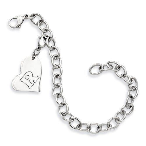 Rutgers Scarlet Knights Stainless Heart Bracelet