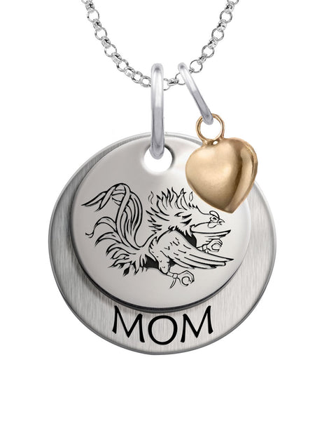 South Carolina Gamecocks MOM Necklace with Heart Accent