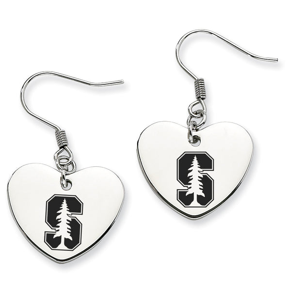 Stanford Cardinals Stainless Steel Heart Earrings