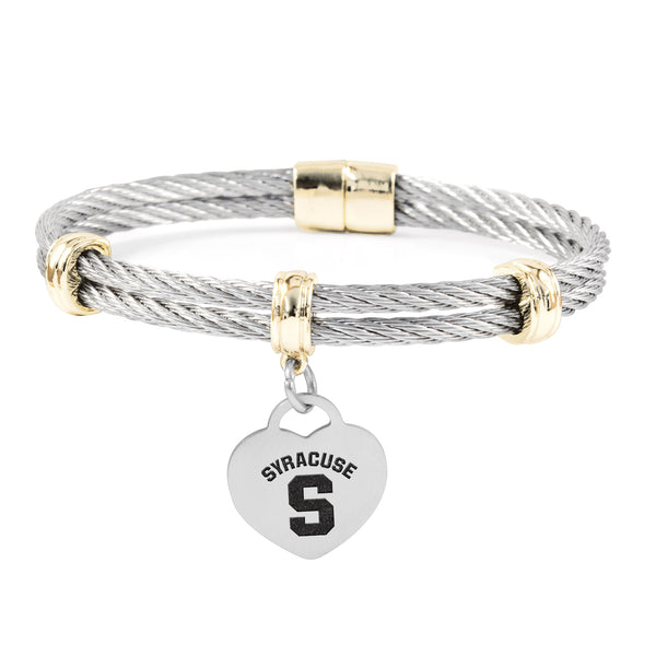 Syracuse Orange Charm Bracelet Stainless Steel Magnetic Clasp Bangle