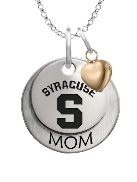 Syracuse Orange MOM Necklace with Heart Accent