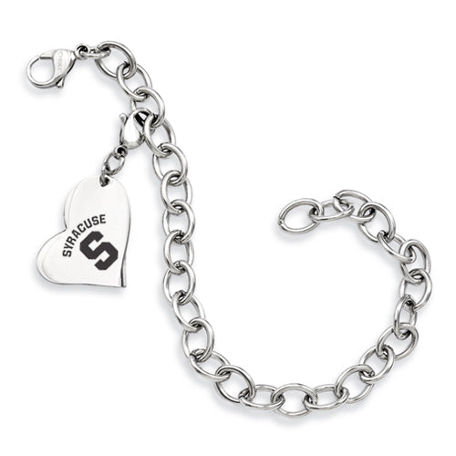Syracuse Orange Stainless Heart Bracelet